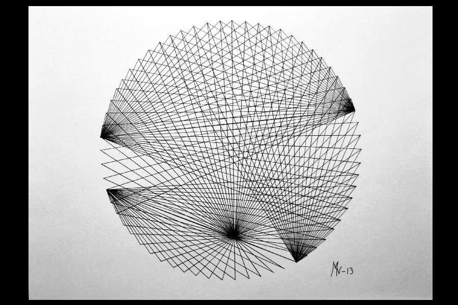 Stråmønster 1,tusj på papir 33x45