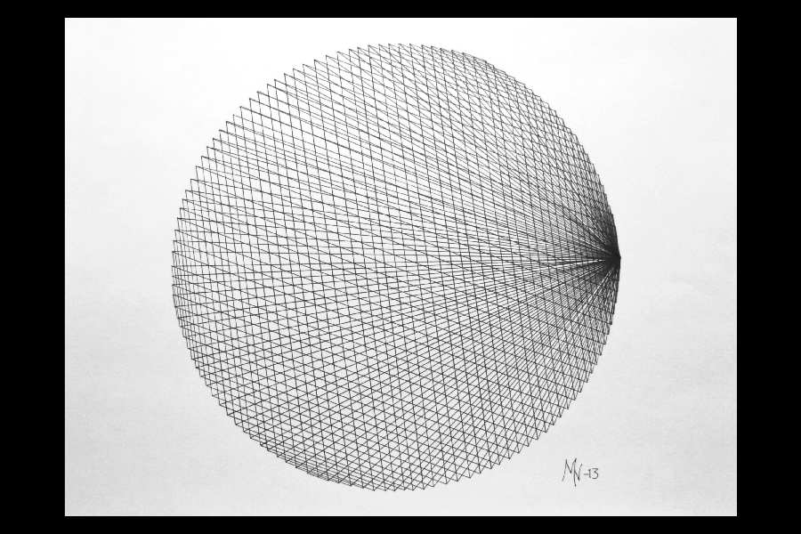 Stråmønster 2, tusj på papir 33x45